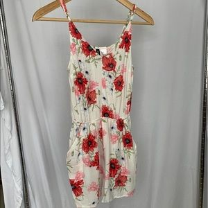 H&M Divided red floral romper with pockets